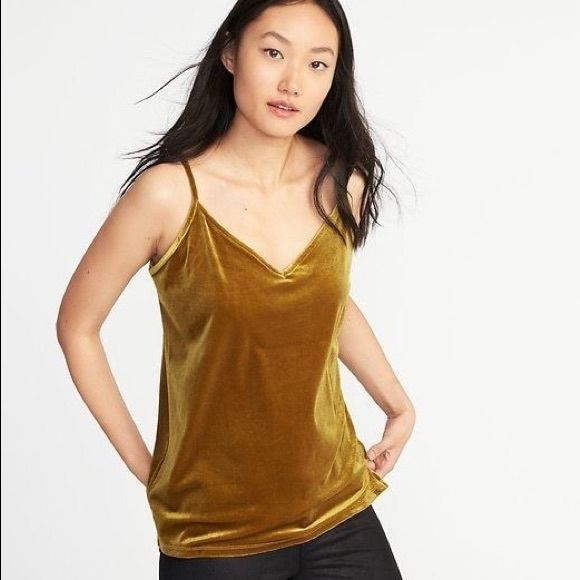 82c6e3da8454b Old Navy Velvet Cami tank top yellow mustard gold.  M 5ab7cbef6bf5a6f4be5c6141. Other Tops ...